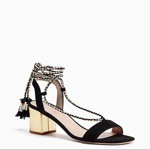 Kate spade black and gold manor tassel heels 7.5